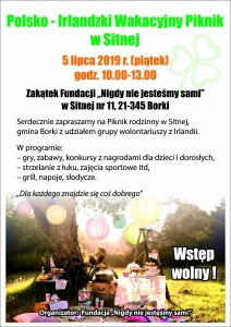 Plakat Polsko-Irlandzki Piknik Sitna